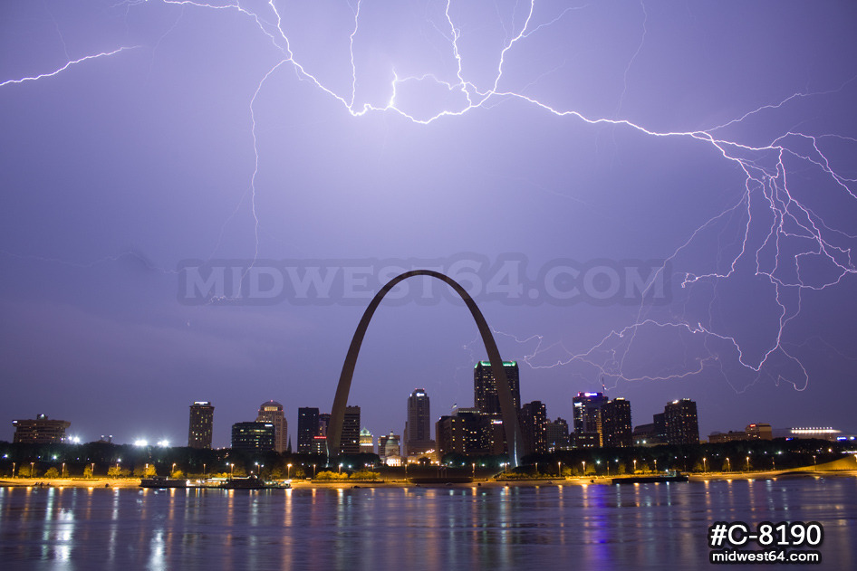 Lightning over St. Louis at night :: Storms and Weather Photography by Dan Robinson