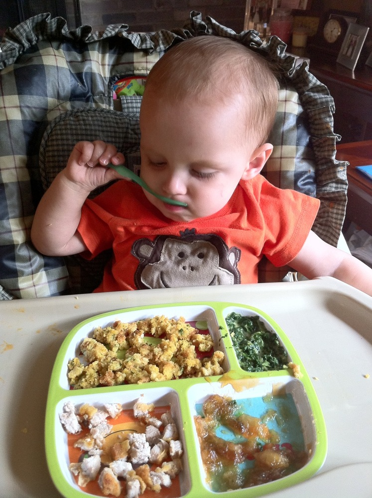 Kristen feeds Daniel the most organized meals ever! Such a contrast from daddy snacks!