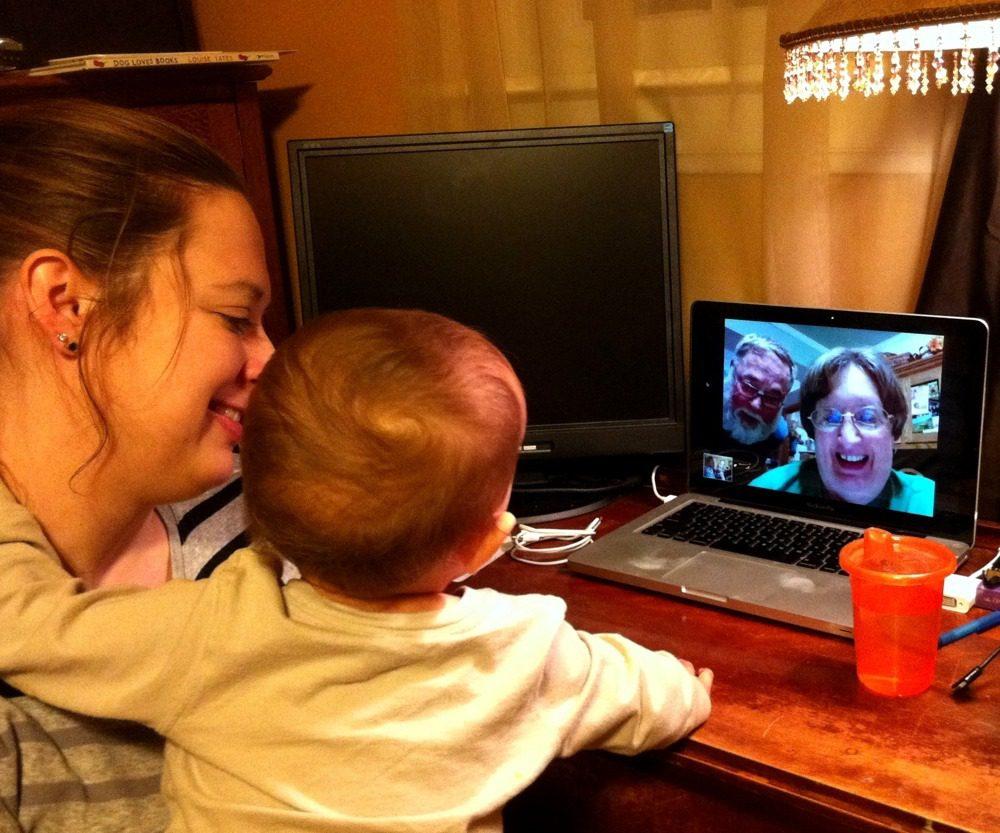 Daniel loves to Skype with Grandma and Grandpa!