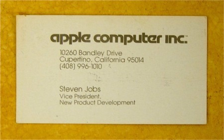 Steve Jobs' 1979 business card