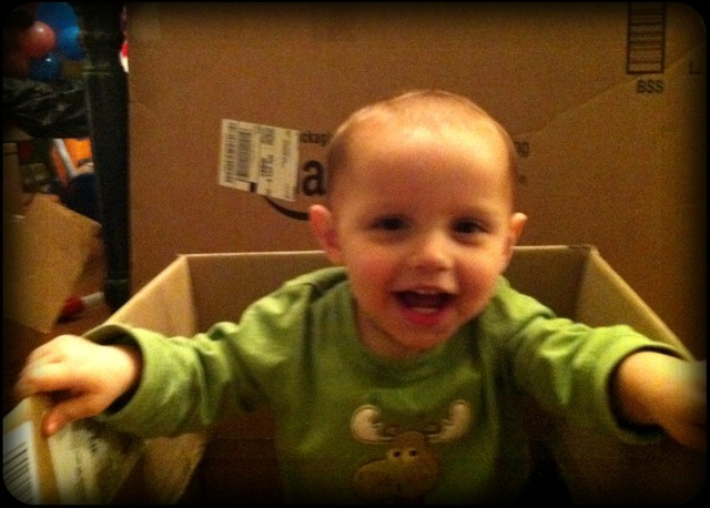 Daniel loves the Amazon boxes!