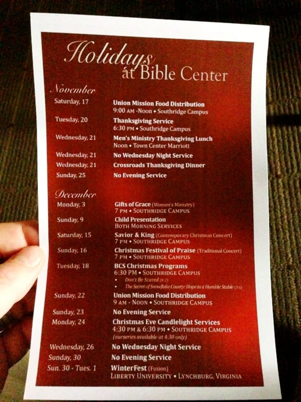 Holiday events at Bible Center Church