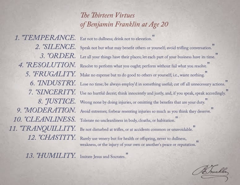 ben franklins virtues Quizlet provides benjamin franklin virtues activities, flashcards and games start learning today for free.