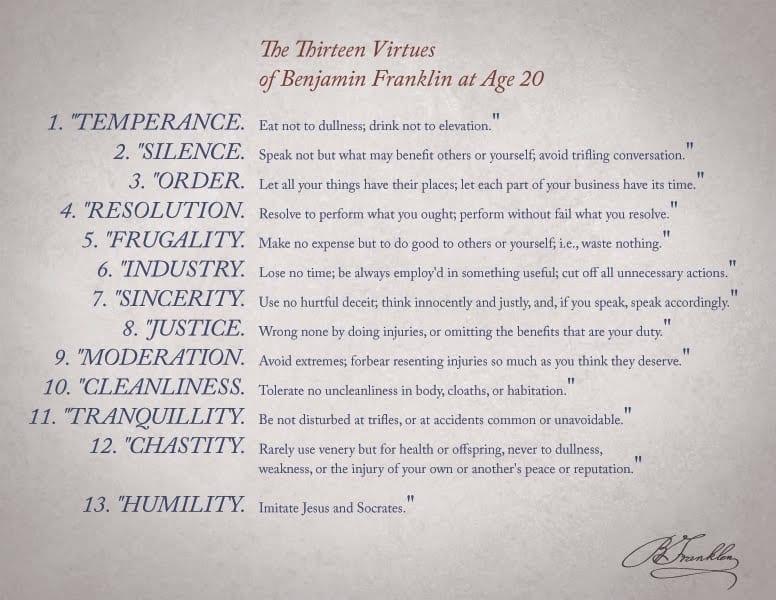 Ben Franklin's 13 Virtues