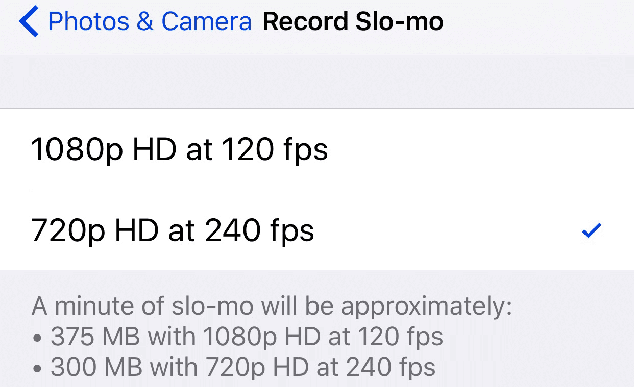 iPhone 6s slow-motion video quality options