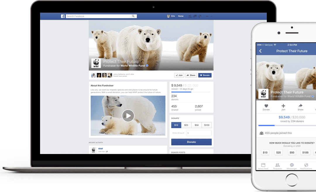 Facebook launches dedicated 'fundraiser' pages for nonprofits