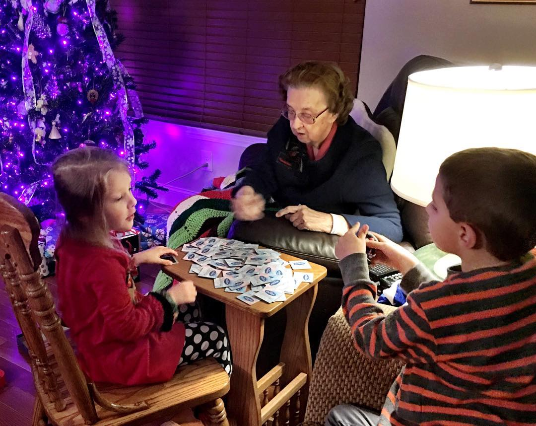 Playing matching with great grandma