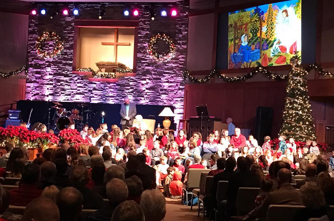 Children's Bible story time at our evening service – so many little hearts.